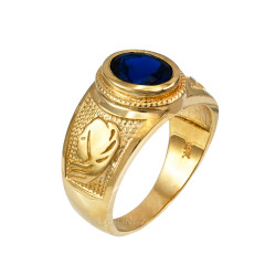 Yellow Gold Virgo Zodiac Sign September Birthstone Blue CZ Ring