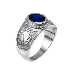 Sterling Silver Virgo Zodiac Sign September Birthstone Blue CZ Ring