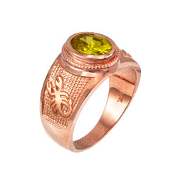 Rose Gold Scorpio Zodiac Sign November Birthstone Yellow CZ Ring
