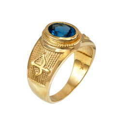Yellow Gold Sagittarius Zodiac Sign December Birthstone Blue CZ Ring