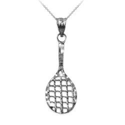 White Gold Tennis Racket DC Pendant Necklace