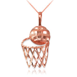 Rose Gold Basketball Hoop DC  Pendant Necklace