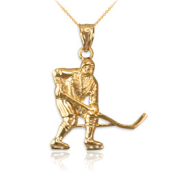 Yellow Gold Ice Hockey Player Pendant Necklace