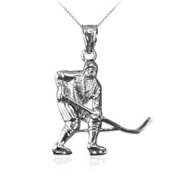 Sterling Silver Ice Hockey Player Pendant Necklace