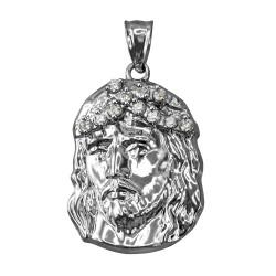 Sterling Silver Jesus Face CZ Pendant (S/L)