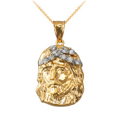 Yellow Gold Jesus Face CZ Charm Necklace