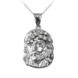 Sterling Silver Jesus Face CZ Charm Necklace