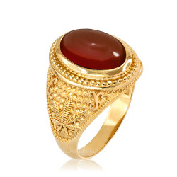 Yellow Gold Marijuana Weed Red Onyx Statement Ring