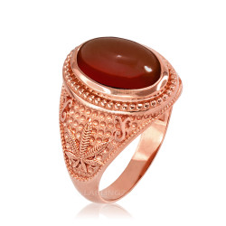 Rose Gold Marijuana Weed Red Onyx Statement Ring