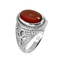 White Gold Egyptian Ankh Cross Red Onyx Statement Ring