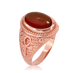 Rose Gold Egyptian Ankh Cross Red Onyx Statement Ring