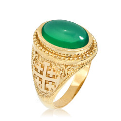Yellow Gold Jerusalem Cross Green Onyx Gemstone Statement Ring