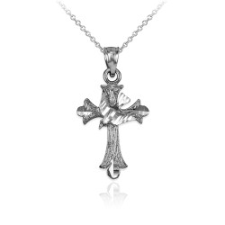 White Gold Holy Spirit Dove Cross DC Charm Necklace