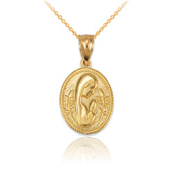 Yellow Gold Praying Virgin Mary Medallion Charm Necklace