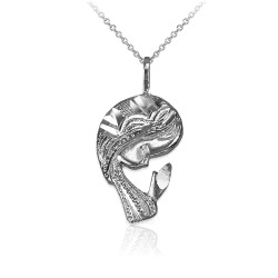 Sterling Silver Praying Virgin Mary DC Charm Necklace