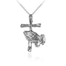 White Gold Praying Hands Cross DC Charm Necklace