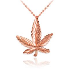 Rose Gold Marijuana Leaf Cannabis DC Charm Necklace