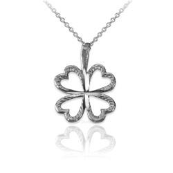 Sterling Silver Tiny Irish Shamrock Clover DC Charm Necklace
