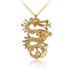 Yellow Gold Textured  Dragon DC Charm Necklace