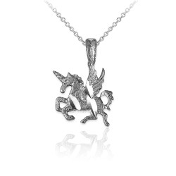 Sterling Silver Tiny Flying Unicorn DC Charm Necklace