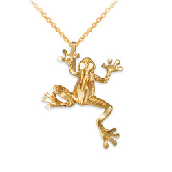 Yellow Gold Frog DC Charm Necklace