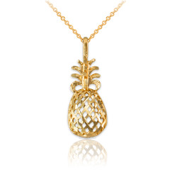 Yellow Gold Pineapple Filigree DC Charm Necklace