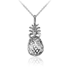 Sterling Silver Pineapple Filigree DC Charm Necklace