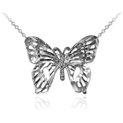 Sterling Silver Butterfly Filigree DC Charm Necklace