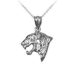 White Gold Tiger Head DC Charm Necklace