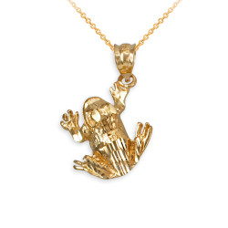 Polished DC Yellow Gold Frog Charm Necklace