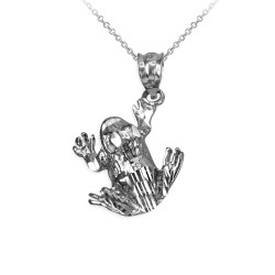 Polished DC Sterling Silver Frog Charm Necklace