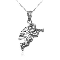 Polished White Gold Trumpeting Angel DC Charm Necklace