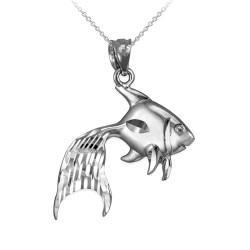 Polished DC Sterling Silver Goldfish Pendant Necklace