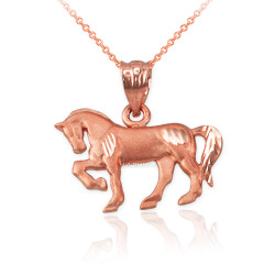 Satin DC Rose Gold Horse Charm Necklace