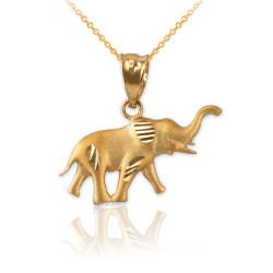 Satin DC Yellow Gold Elephant Charm Necklace