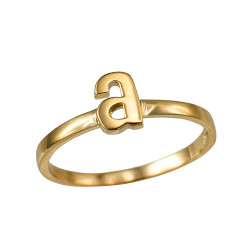Polished Yellow Gold Initial Letter A Stackable Ring