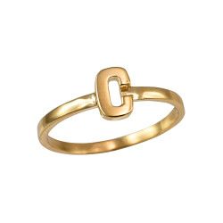 Polished Yellow Gold Initial Letter C Stackable Ring