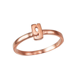 Polished Rose Gold Initial Letter G Stackable Ring