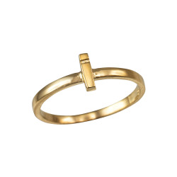 Polished Yellow Gold Initial Letter I Stackable Ring
