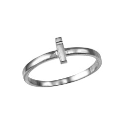 Polished White Gold Initial Letter I Stackable Ring