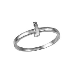 Sterling Silver Initial Letter J Stackable Ring