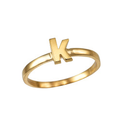 Polished Yellow Gold Initial Letter K Stackable Ring