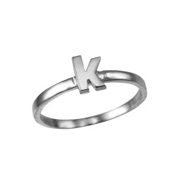 Sterling Silver Initial Letter K Stackable Ring