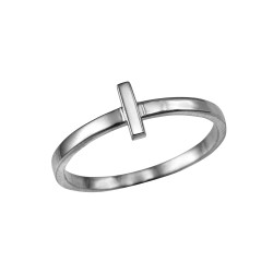 Polished White Gold Initial Letter L Stackable Ring