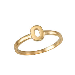 Polished Yellow Gold Initial Letter O Stackable Ring