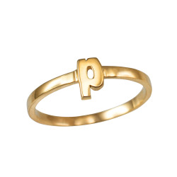 Polished Yellow Gold Initial Letter P Stackable Ring