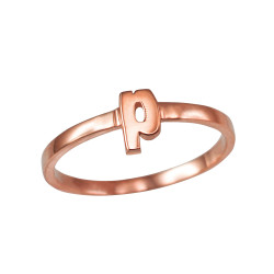 Polished Rose Gold Initial Letter P Stackable Ring