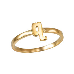 Polished Yellow Gold Initial Letter Q Stackable Ring