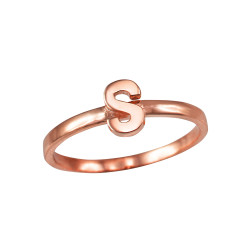 Polished Rose Gold Initial Letter S Stackable Ring