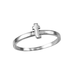 Polished White Gold Initial Letter T Stackable Ring